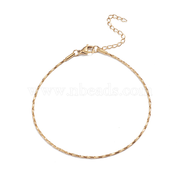 304 Stainless Steel Snake Chain Anklets, with Lobster Claw Clasps, Golden, 8-7/8 inches(22.5cm)(X-AJEW-G024-07G)