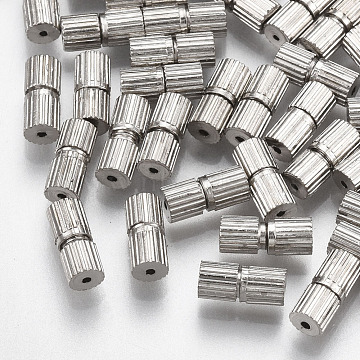 Iron Screw Clasps, Nickel Free, Platinum, 7x3mm, Hole: 0.6mm(X-IFIN-T007-29P-NF)