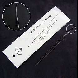 Stainless Steel Collapsible Big Eye Beading Needles, Seed Bead Needle, Beading Embroidery Needles for Jewelry Making, Stainless Steel Color, 57x0.3mm(ES001Y-5.0CM-01)
