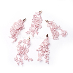 Ccb пластиковые большие подвески, с кружевом, цветок, золотые, светло-розовые, 75~90x6 мм, отверстие : 1.6 мм(CCB-G011-B02)