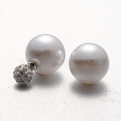 Пластик жемчуг с полимерной глины Rhinestone мяч серьги стержня, светло-серые, 8~16 мм, штифты : 0.8 мм(EJEW-N0003-08)