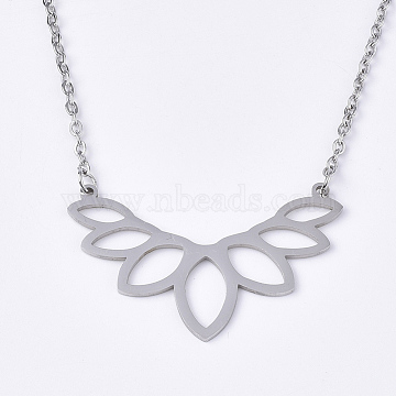 201 Stainless Steel Pendant Necklaces, with Cable Chains, Lotus, Stainless Steel Color, 17.9 inches(45.5cm); 2mm; Lotus: 25x40x1mm(NJEW-T009-JN063-1-40)
