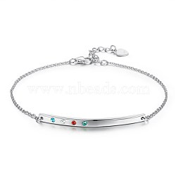 925 Sterling Silver Link Bracelets, with Austrian Crystal, Platinum, Mixed Color, 6-3/4inches(17cm)(BJEW-BB34044-A)