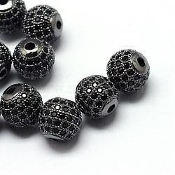 Perles de zircone cubique de placage de rack en laiton, Plaqué longue durée, rond, gunmetal, 6x6mm, Trou: 1.5mm(ZIRC-S001-6mm-B04)