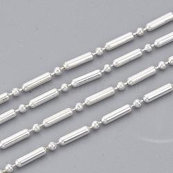 chaînes à billes en laiton soudé soudé, chaînes à billes et à barres, avec bobine, argent, 5.6x1.5 mm(X-CHC-S008-006A-S)