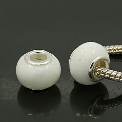 Argenté blanc à la main rondelle laiton noyau chalumeau grosses perles européennes de trous, diamètre: 12 mm ~ 14 mm, trou: environ 4~5 mm(X-DA59)