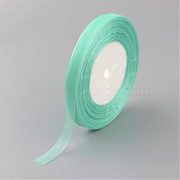 Sheer Organza Ribbon, Wide Ribbon for Wedding Decorative, Medium Aquamarine, 3/4 inch(20mm), 25yards(22.86m)(RS20mmY-278)