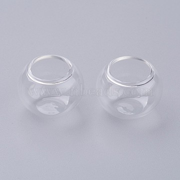Blown Glass Globe Cover, Wishing Bottle Bubble Vial, Clear, 26x19~20mm, Hole: 14.5~16mm; Capacity: 3.5ml(0.118 fl. oz)(AJEW-P067-01)