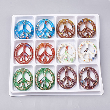 Handmade Gold Sand Lampwork Pendants, Inside Millefiori Glass, Oval with Peace Sign, Mixed Color, 49~50x42~43x6mm, Hole: 3mm; Box Size: 20x19.5x1.3cm; about 12pcs/box(LAMP-S189-09-B)