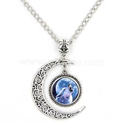 """Colliers avec pendentif d'image en verre, avec des chaînes d'alliage, Lune et plat rond avec loup, argent antique, bleu, 18.5"""" (47 cm)(X-PALLOY-D421-SK03)"""