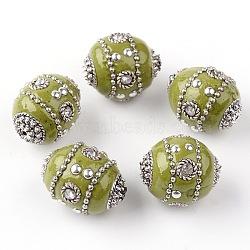 Faits à la main indonésie perles ovales, avec des strass et des accessoires en alliage, argent antique, olive, 23x18~19mm, Trou: 1.5mm(IPDL-I001-14AS)