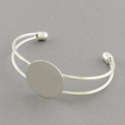 латунные манжеты браслет задатки, браслет пустое основание, серебристый цвет, 63 мм; плоские круглые: 20 мм(X-MAK-S001-SZ018S-20)
