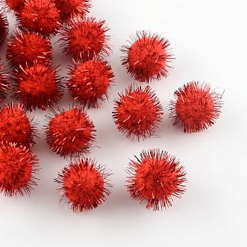 Handmade DIY Doll Craft Pom Pom Yarn Pom Pom Balls, with Metallic Cord, Red, 15mm; about 1000pcs/bag(AJEW-R046-1.5cm-03)