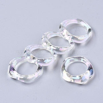 Transparent Resin Finger Rings, AB Color Plated, Clear AB, US Size 6 3/4(17.1mm)(RJEW-T013-001-E02)