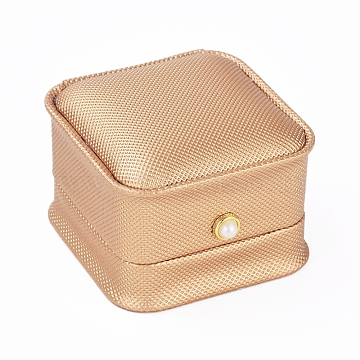 PU Leather Ring Gift Boxes, with Iron & Plastic Imitation Pearl Button and Velvet Inside, for Wedding, Jewelry Storage Case, Navajo White, 6.5x6.5x4.5cm(LBOX-L005-I03)