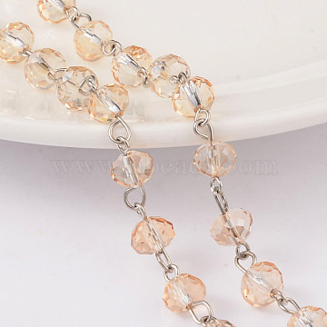 Faceted Rondelle Handmade Electroplate Glass Beads Chains, Unwelded, with Platinum Plated Brass Findings, Bisque, 39.3 inches, about 79pcs/m(X-AJEW-JB00130-05)