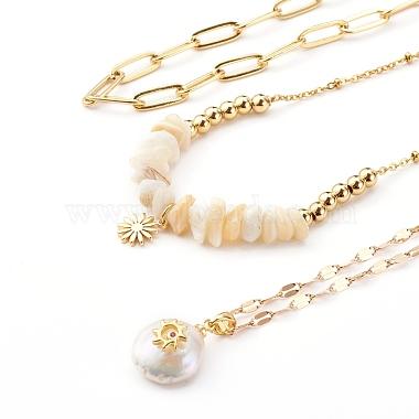 Brass Pendant Necklaces & Paperclip Chain Necklaces Sets(NJEW-JN03334)-2