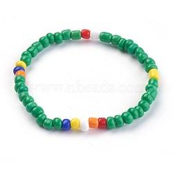 """Bracelets extensibles pour enfants, avec des perles en verre de graine, verte, 1-3/4"""" (4.6 cm)(BJEW-JB03938-04)"""