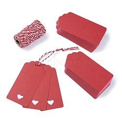 Vitrines de bijoux étiquettes de prix du papier, avec corde de chanvre, chaîne de chanvre, ficelle de chanvre, rectangle avec le coeur, rouge, 95x45mm, 100 pièces / kit(CDIS-TA0001-05)