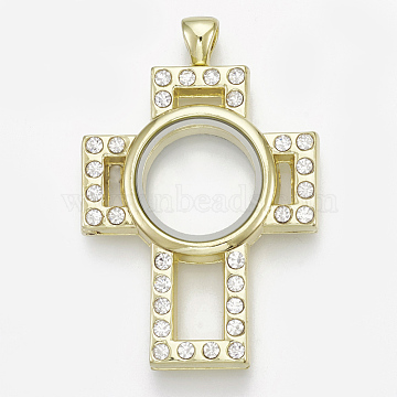 Alloy Magnetic Locket Big Pendants, with Rhinestone and Glass, Cross, Crystal, Golden, 55.5x37x8mm, Hole: 5x4mm; Inner Diameter: 17mm(PALLOY-T052-07G)