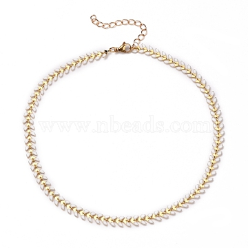 Brass Enamel Cobs Chain Necklaces, with 304 Stainless Steel Lobster Claw Clasps, White, Real 18K Gold Plated, 14 inches(35.4cm)(NJEW-JN03206)