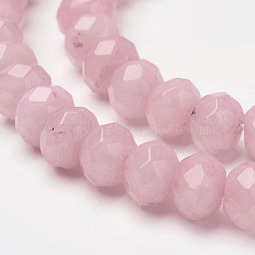 8mm Pink Rondelle White Jade Beads