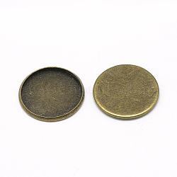 cuvettes de fer, paramètres cabochon, plat rond, bronze antique, plateau: 25 mm; 27x2 mm(X-MAK-Q011-25AB-25mm)