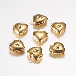 Pendentifs de médaillon en laiton, breloques cadre de photo pour colliers, cœur, or, 12x10.5x0x4mm, Trou: 1mm(X-EC1173-G)