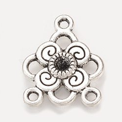 Supports de strass de connecteur en alliage de style tibétain, fleur, Sans cadmium & sans nickel & sans plomb, argent antique, 20.5x17x3mm, trou: 1.5 mm; apte à 2 mm strass(X-TIBEP-S312-55AS-NR)