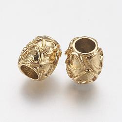 Supports d'émail en perle européenne en 304 acier inoxydable, Perles avec un grand trou   , tambour avec le coeur, or, 10x9mm, Trou: 4.5mm(STAS-J022-133G)