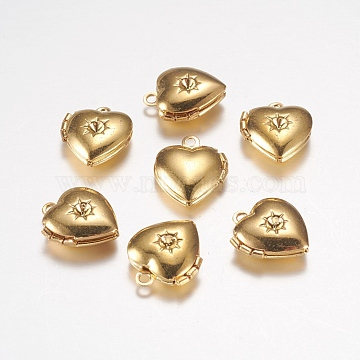 Brass Locket Pendants, Photo Frame Charms for Necklaces, Heart, Golden,12x10.5x0x4mm, Hole: 1mm(X-EC1173-G)