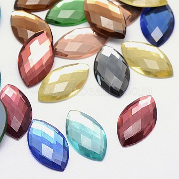 Faceted Glass Horse Eye Cabochons, Flat Back & Back Plated, Mixed Color, 20x10x4mm(X-GGLA-F009B-M)