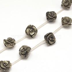 "Rose pyrite naturelle perles brins, 10x7mm, trou: 1mm; environ 20 pcs/chapelet, 15.7""(G-I125-53-10x7mm)"