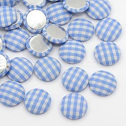 Украшения для вырезок для обложки для аксессуаров для аксессуаров flatback tartan полукруглая купол ткань ткань покрыта кабошонами, с алюминиевой нижней, Платиновый металл, светло-синие, 14.5x4 мм(X-WOVE-F012-06)