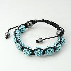 """Bracelets de mode en strass en alliage, avec des perles d'hématite et corde de nylon, bleu ciel, 2-1/4"""" (58 mm)(X-BJEW-D071-1C)"""