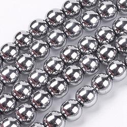 8 мм сорт круглые немагнитные синтетические гематитовые бусины, с покрытием платиным, 8 мм, Отверстие : 1~2 мм; около 55 шт / нитка