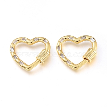 Brass Micro Pave Cubic Zirconia Screw Carabiner Lock Charms, for Necklaces Making, Heart, Golden, Clear, 19x20.5x4.5mm(KK-M206-11G-01)