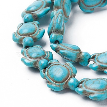 Synthetic Turquoise Beads Strands, Dyed, Sea Turtle, Turquoise, 17.5~18x14~14.5x7.5mm, Hole: 1.5mm, about 23pcs/strand, 15.15 inches(38.5cm)(X-TURQ-L029-04)