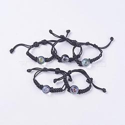 """Bracelet ajustable en cuir ciré avec perles tressées, avec perles rondes au chalumeau, thème de ciel étoilé, couleur mixte, 2-1/8"""" (5.5cm) ~ 2-1/4"""" (5.8cm)(BJEW-F366-M)"""