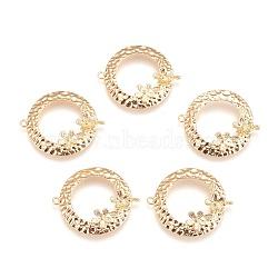 liens en laiton piquets, pour la moitié de perles percées, sans nickel, plat et circulaire avec fleur, véritable plaqué or, 29x24x5 mm, trou: 1.2 mm; broches: 0.8 mm(KK-E760-34G-NF)
