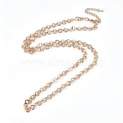 Colliers chaîne rolo en fer, avec fermoir pince de homard, or clair, 29.92'' (76 cm)(NJEW-G330-01KCG)