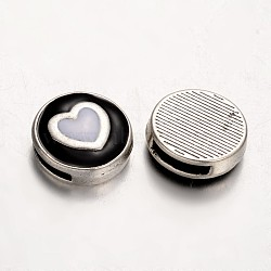 Plat rond avec le coeur émail en alliage breloques à glisser, noir, 17x5.5mm, Trou: 1.5x10mm(ENAM-D035-02)