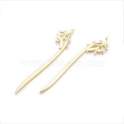 Accessoires de bâton de cheveux en alliage, fleur, or, 152x32x3 mm; trou: 2.5 mm(OHAR-F008-05G)