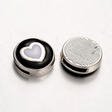 Antique Silver Black Flat Round Alloy+Enamel Charms