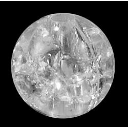 Perles acryliques craquelées, rond, blanc, 10 mm de diamètre, Trou: 2mm(X-PAC152Y-9)