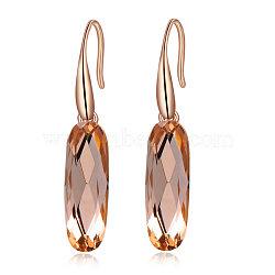 ovale trois fois de boucles d'oreilles en cristal autrichien en alliage de mode plaqué or rose véritable, 001 cuivre cop_crystal, 40x9 mm(EJEW-AA00057-58B)