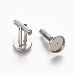 304 boutons de manchette en acier inoxydable, plat rond, couleur inoxydable, plateau: 12 mm; 26.5x14 mm(STAS-E471-03D-P)