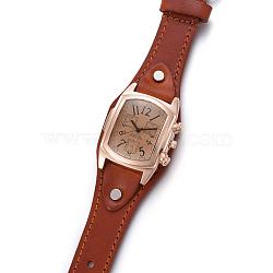 наручные часы высокого качества, кварцевые часы, Головка из сплава и ремешок из искусственной кожи, сиена, 9-1 / 2 / 9-7 8 см); (24.1~25.1 мм; головка часов: 19~20x3 мм(WACH-I017-10B)