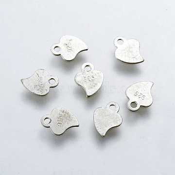 925 Sterling Silver Charms, Heart Carved 925, Platinum, 7.5x5.5x0.2mm, Hole: 1mm(X-STER-K037-049A)