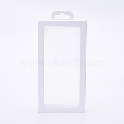 Plastic Frame Stands, with Transparent Membrane, For Ring, Pendant, Bracelet Jewelry Display, Rectangle, White, 20x9.2x2cm(ODIS-P006-01A)